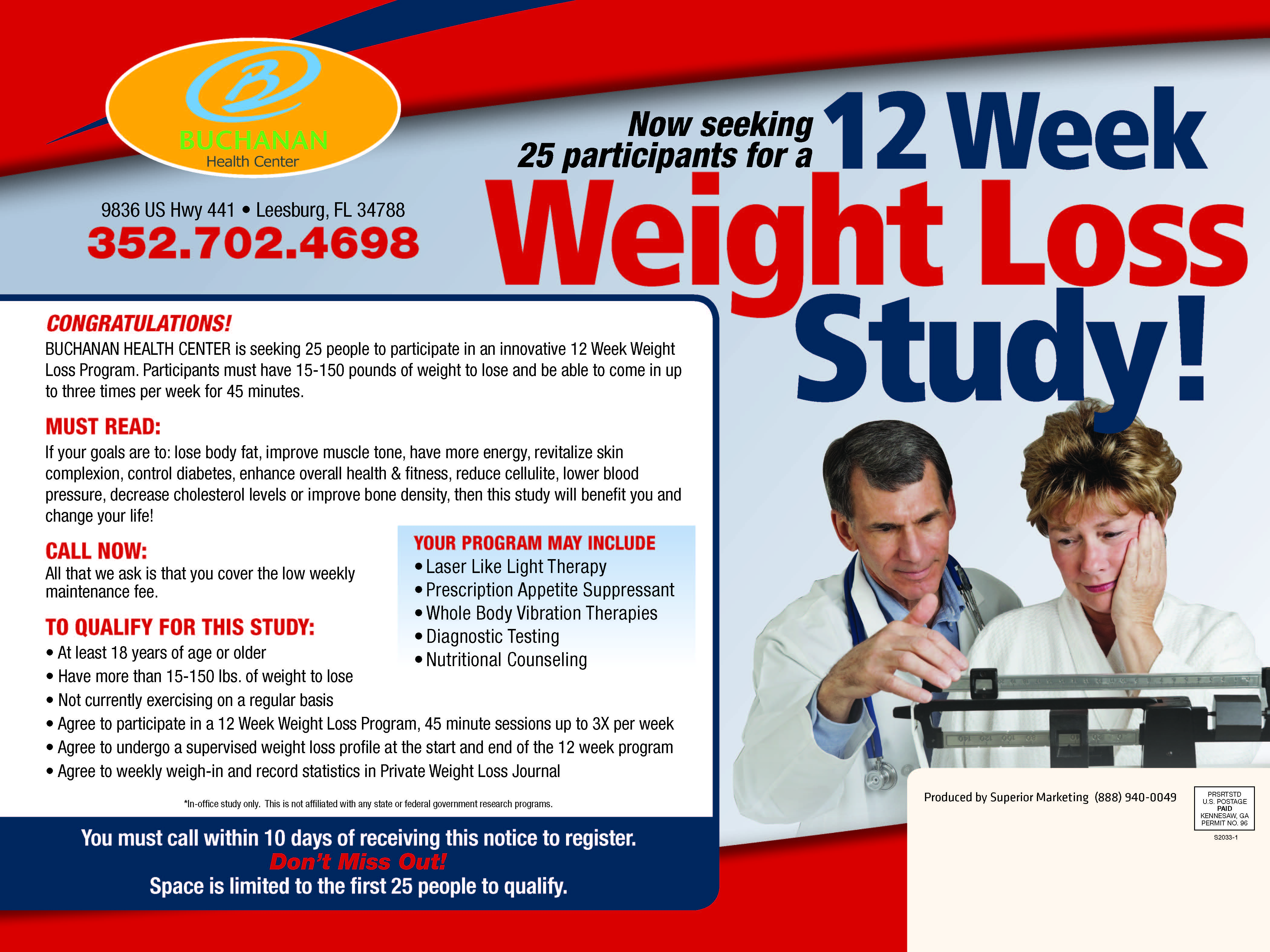 Weight Loss Program Brochure for Buchanan Health Center in Leesburg